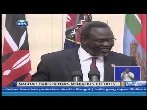 Uhuru Kenyatta meets South Sudan's former vice president Riek Machar