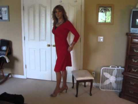 heidi crossdresser red dress