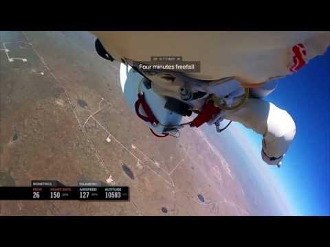 Felix Baumgartner Freefall space jump GoPro [HD] SET TO MUSIC