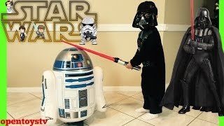 STAR WARS DARTH VADER AND R2 PLAYING OPEN TOYS AND KIDS FUN