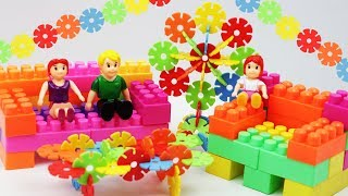 Colorful Sofa Set with Building Blocks   Snowflake Building Blocks for Kids