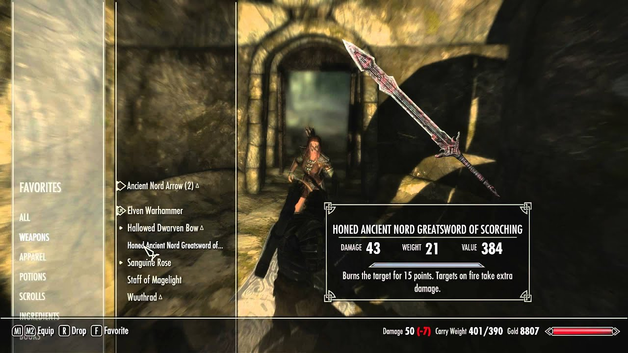 Skyrim how to get honed ancient nord greatsword of scorching