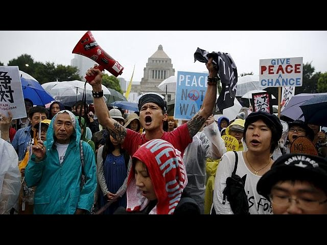 Large protests in Japan against plans to expand military role