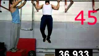 WORLD RECORD:MOST LEG-ASSISTED PULL-UPS in 1 MINUTE (66 pullups in 1 minute with leg assist cam 1)