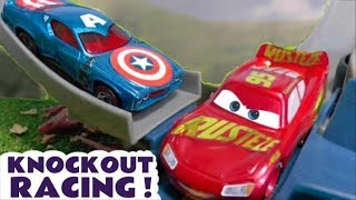 Disney Cars Toys McQueen Knockout Crash Smash Racing with Hot Wheels Avengers Captain America TT4U