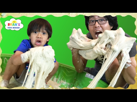 How to Make Giant Vomit Slime goo in kiddie Pool! Easy Science Experiments for Kids Ryan ToysReview