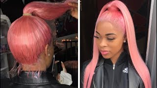 PINK HIGH PONYTAIL! (Using a Full Lace Wig)
