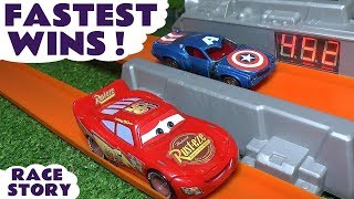 Cars 3 Hot Wheels Fastest Wins Race with Disney Pixar McQueen and Marvel Avengers 4 Superheroes