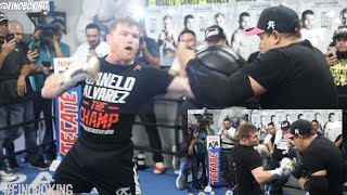 CANELO ÁLVAREZ MERCILESS ON THE MITTS, DROPPING BOMBS WITH BOTH HANDS DURING LAST MEDIA WORKOUT