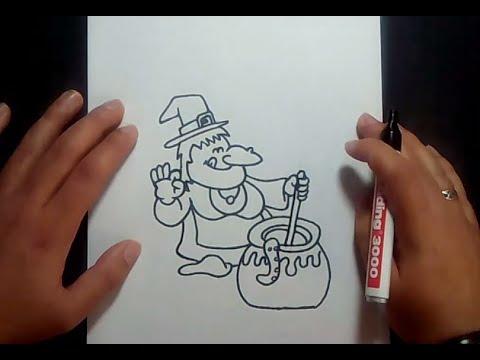 Como dibujar una bruja paso a paso 6 | How to draw a witch 6
