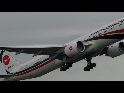 Aircraft Vortex Slow Motion Take off Biman Bangladesh 777 London Heathrow