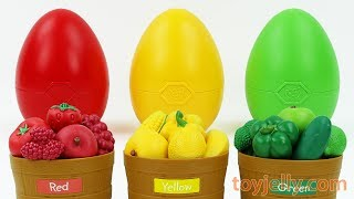 Learn Colors Fruits Vegetables Baskets Gumball Giant Surprise Egg Kinder Joy Toys Kids Play Doh Mold