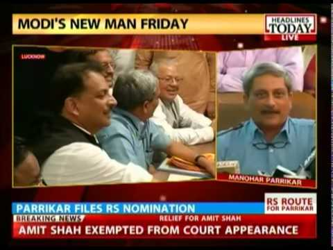 New Defense Minister Manohar Parrikar addresses the media