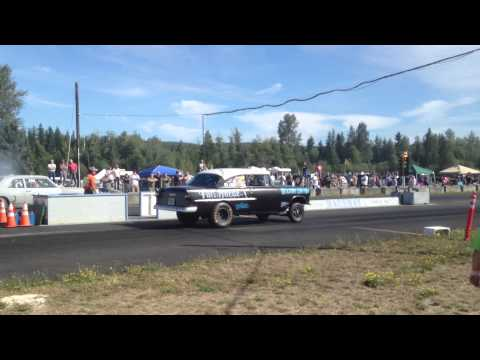 65' CHEVELLE 300 VS. 55' CHEVY BILLETPROOF ERUPTION DRAGS TOUTLE, WA 2013
