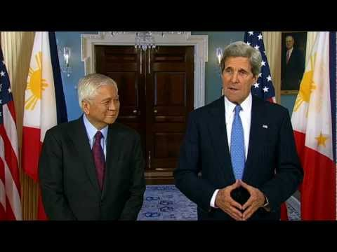 Secretary Kerry Delivers Remarks With Philippine Foreign Secretary Albert Del Rosario