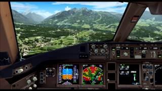 FSX Maxed Out    PMDG 777   Approaching Innsbruck, RWY 08