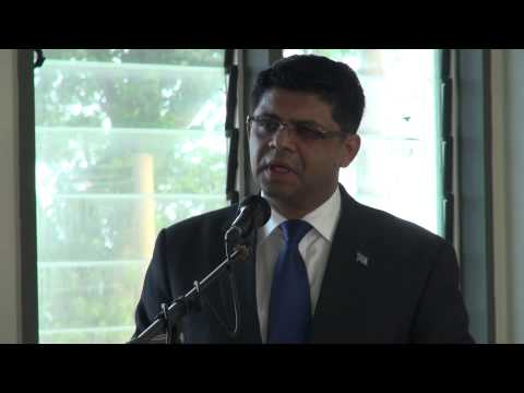 Fijian Acting Prime Minister Aiyaz Sayed-Khaiyum, signs agreement, RFMF and Fiji Maritime Academy