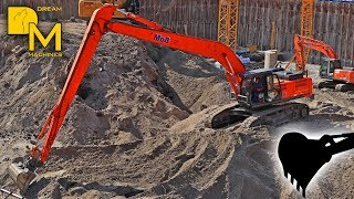 HITACHI KMD400 LONG REACH BAGGER BAUSTELLE / BIG EXCAVATOR WITH LONG BOOM DIGGING SAND