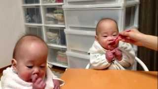 10months old twins having dinner--お食事してる双子ちゃん
