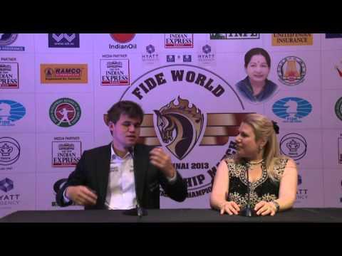 Woirld Chess Champion Magnus  Carlsen in conversation with Susan Polgar