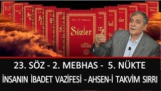 Prof. Dr. Şener Dilek - 23. Söz - 2. Mebhas-5. Nükte-İnsanın İbadet Vazifesi  Ahsen-i Takvim Sırrı