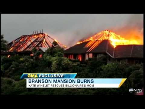Richard Branson, Necker Island Fire, Mansion Paradise Burns Down
