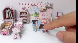 Lắp ráp nhà búp bê bằng giấy có phòng ngủ, nhà bếp, phòng tắm... Miniature dollhouse (Chim Xinh)