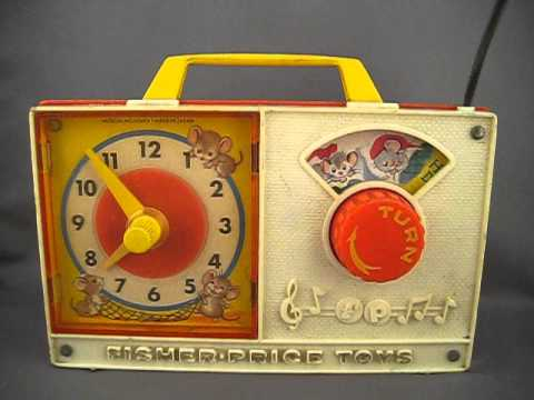 """Vintage 1971 Fisher-Price Clock Radio #107 """"Hickory Dickory Dock"""" Wind Up Toy - YouTube"""