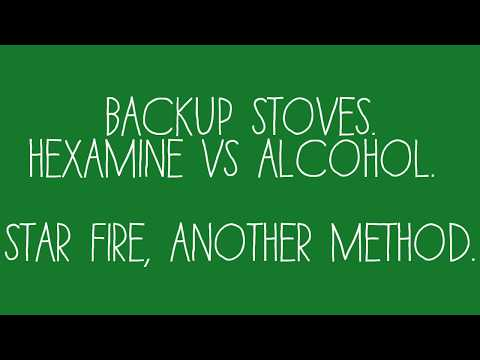 Backup stoves, Hexamine vs Alcohol.  Star fire, alternative method.