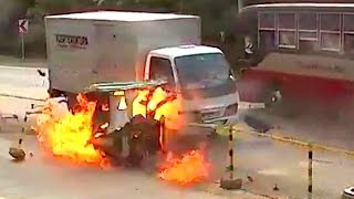 MOTORCYCLE TRIKE BUS Caught on fire Accident FULL VIDEO in davao toril