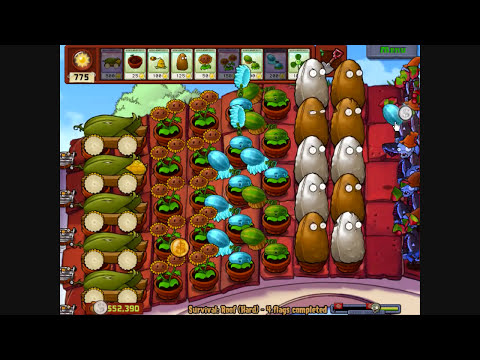 Plants Vs Zombies (SURVIVAL) Rooftops Hard -Part 2- HD