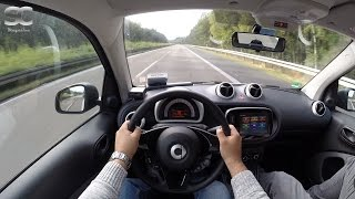 Smart ForTwo 1.0 (2016) on German Autobahn - POV Top Speed Drive