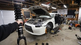 The Salvage GTR gets New Coilovers, Axels, Suspension and Brakes Installed