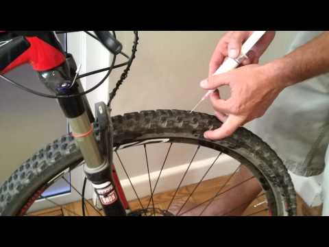 Tire sealant top up method for tubeless mountain bikes.mp4