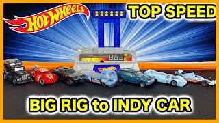 TOP SPEED TESTING HOT WHEELS - Porsche 917 LH Big Rig Indy Oval Mercedes VW T2 Pick Up