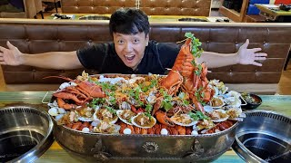 SPICY LOBSTER SEAFOOD HOTPOT LAKE! 15 Person SEAFOOD CHALLENGE in Singapore
