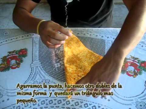 flor de tela - técnica Origami