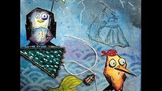 #Gothica Tim Holtz Bird Crazy anonymous   Altered Pirates Wreck ship Mixed Media Medios mixtos