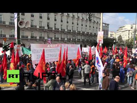 Greece: See THOUSANDS swarm Athens in anti-EU austerity demo
