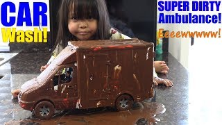 Children's TOY CARS. Wash the Dirty Ambulance Toy! Toy Car Wash Playtime. DHL Delivery Truck