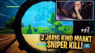 2-jarig kind maakt sniper kill.. (Fortnite: Battle Royale NEDERLANDS/NL)