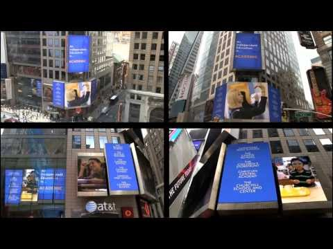 Manhattan Country School students featured on Reuters electronic billboard for NYSAIS promo