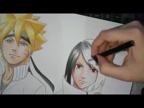 Speed Drawing - Uzumaki Boruto and Uchiha Sarada (Shippuden Version)