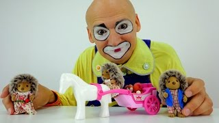 Try not to laugh with clown & Sylvanian families toys.