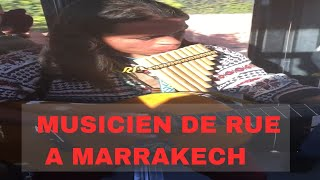 Peruvian plays music in the bus Marrakesh