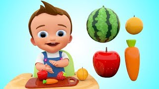Learn Colors for Children with Baby Cutting Fruits and Vegetables 3D Kids Toddler Learning Education