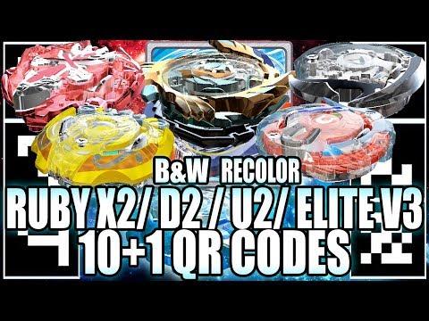 10+1 QR CODES RUBY X2, PLATINUM D2, U2 RECOLOR +MORE!  - BEYBLADE BURST APP QR CODES
