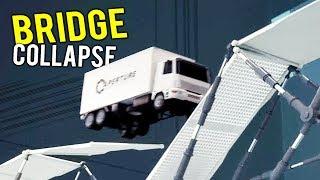 BRIDGE COLLAPSES CAUSING MULTIPLE VEHICLES TO CRASH! - Bridge Constructor Portal Gameplay