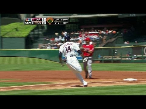LAA@HOU: Guzman doubles for the Astros' first hit