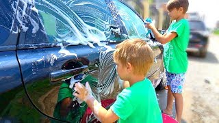 Car Wash Song Nursery Rhymes with Kids and Toys | Jason and brothers